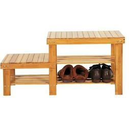 2-Tier Shoe Bench Entryway Storage Rack with High & Low Leve