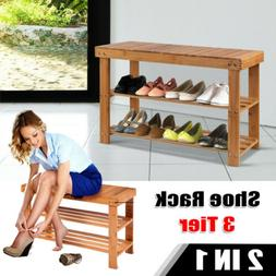 3 Tier 2in1 Bamboo Shoe Rack Bench Storage Seat Organizer Sh