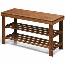 3-Tier Bamboo Shoe Bench Storage Rack Organizer W/ Stool Ent