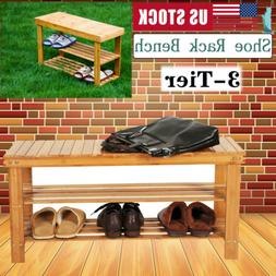 3 Tier Bamboo Shoe Rack with Bench Shelf Storage Organizer H