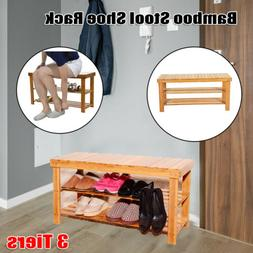 3 Tier Entryway Bamboo Shoe Rack Stool Bench Storage Seat Or