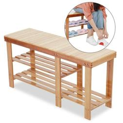 3Tier Bamboo Stool Shoe Rack Bench Storage Seat Organizer Sh