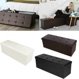 "43"" L Leather Folding Storage Ottoman Bench Storage Chest/Fo"