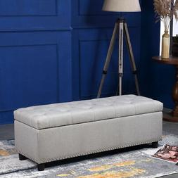 """48"""" Storage Ottoman Bench Upholstered Seat Footstool Cushion"""