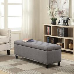 """48"""" Tufted Fabric Storage Ottoman Lift Top Shoe Bench Seat F"""
