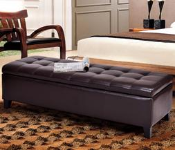 51'' Storage PU Leather Home Dark Brown Tufted Rectangular O