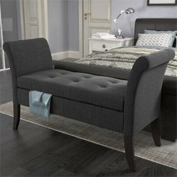 Corliving - Antonio Storage Bench With Scrolled Arms - Dark
