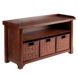 Winsome Wood MilanWood Storage Bench in Antique Walnut Finis