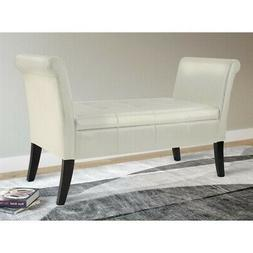 Antonio Storage Bench with Scrolled Arms in Cream Bonded Lea
