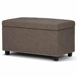 Simpli Home AXCOT-256-BRL Hannah Storage Ottoman Bench in Fa