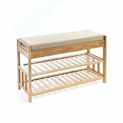 Bamboo Entryway Bench with Shoe Rack and 2-Drawer Seat Stora