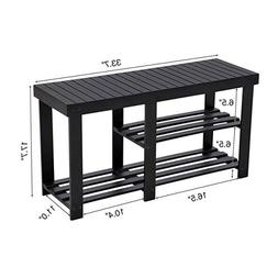 SONGMICS Bamboo Shoe Rack Bench for Boots, Entryway Storage