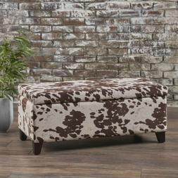 Brianna Rectangle Cow Print Velvet Storage Ottoman Bench