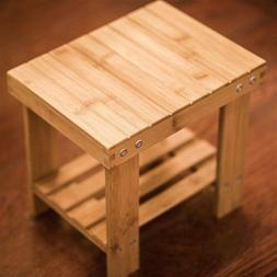 Children Bamboo Bench Stool Step Stool with Storage Shelf fo