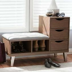 Contemporary Shoe Storage Bench by Baxton Studio Grey