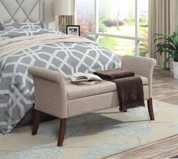 Contemporary Storage Ottoman Bench Button Tufted Lid Comfy P