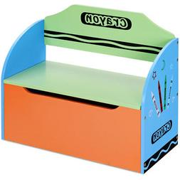Crayon Themed Toy Storage Box and Bench for Kids Toddler Chi