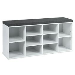 Entryway Padded Shoe Storage Bench 10-Cube Organizer Bench A