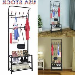 Entryway Storage Bench Coat Shoe Rack Hall Tree with 18 Hook