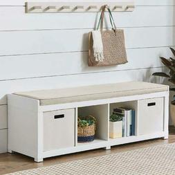 Entryway Storage Bench Cushion Sitting Wood Entrance Furnitu