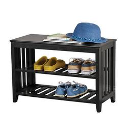 Entryway Wood Bench and Hanging Wall Shelf for Organization