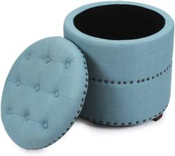 Adeco Euro Style Fabric Bench Ottoman Chair Footstool, Blue