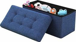 Ornavo Home Foldable Tufted Linen Large Storage Ottoman Benc