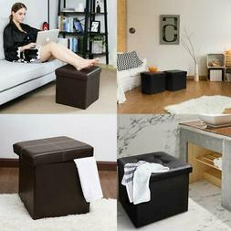 Folding Storage Ottoman Bench Box Lounge Seat Foot Rest Stoo