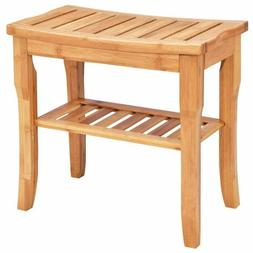 Giantex Bamboo Shower Bench Seat With Storage Shelf, Shower