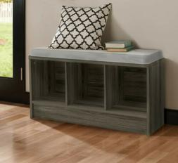 Gray ClosetMaid Cube Storage Bench with Seat Cushion Entrywa