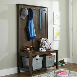 Hall Bench Seat Entryway Coat Tree Rack Hat Wood Stand Hooks