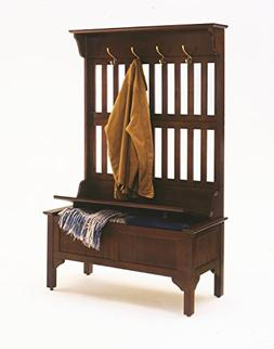 Hall Tree with Storage Bench Entryway Cherry Furniture Coat