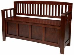 Linon Home Decor Cynthia Storage Bench Walnut Finish Flip To