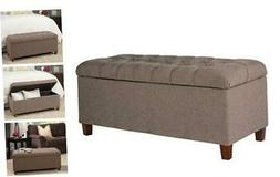 HomePop Ainsley Linen Button Tufted Storage Bench with Hinge