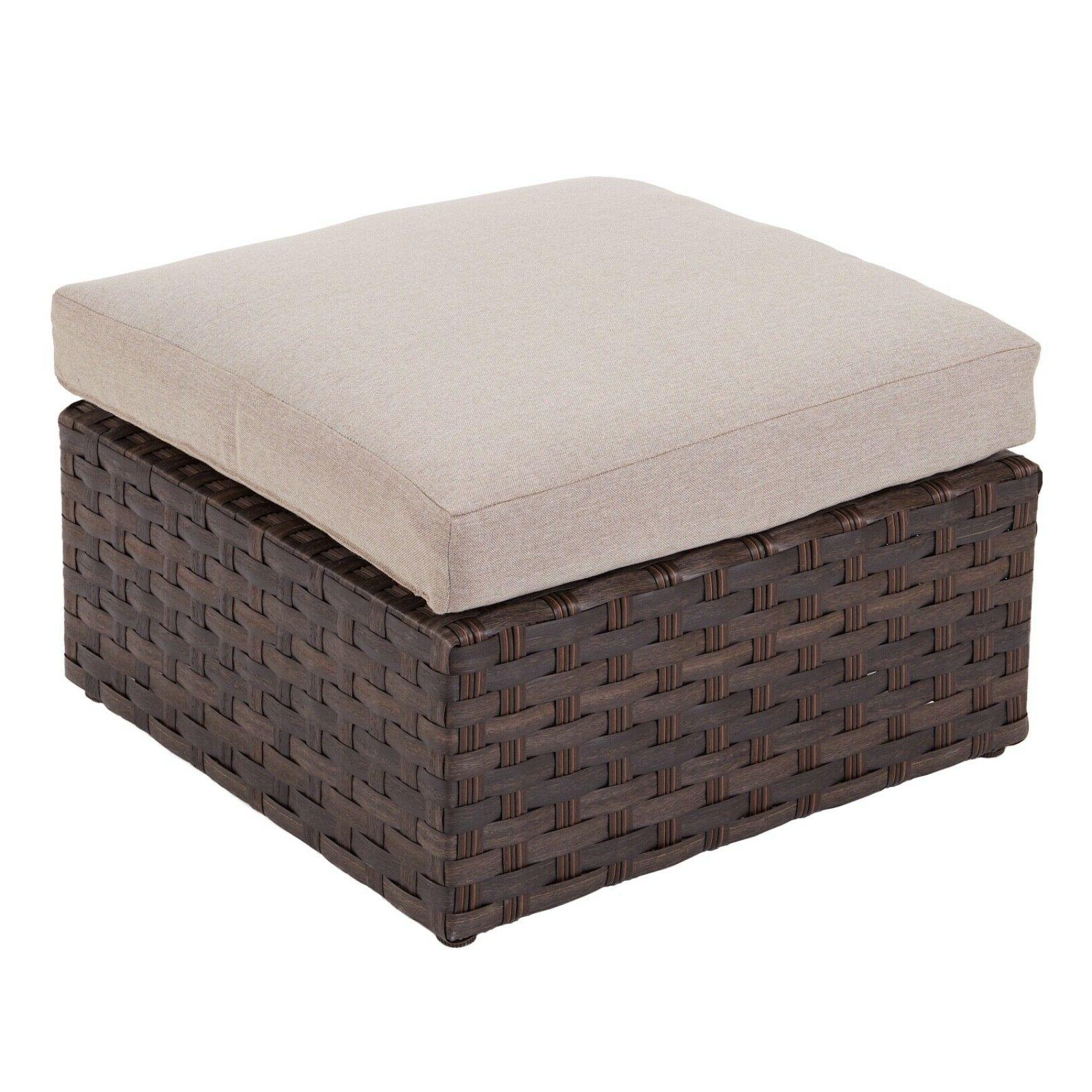 2 piece patio ottoman beige storage bench