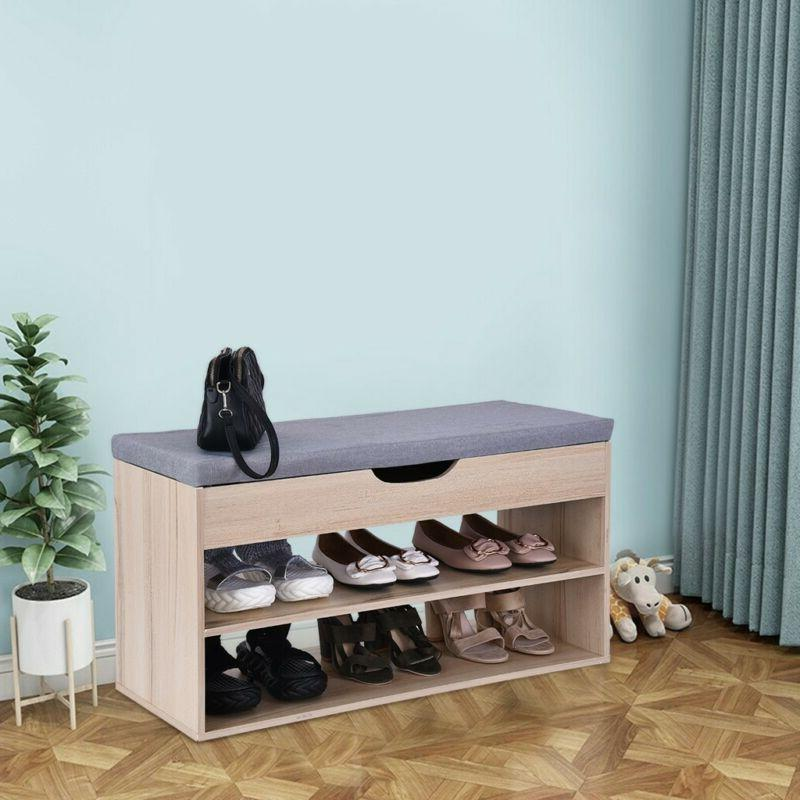 Entryway Storage Bench Durable Wooden Modern Shoe Rack With