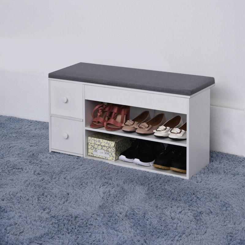 2Tier Shoe Bench Soft Stool Entryway Rack