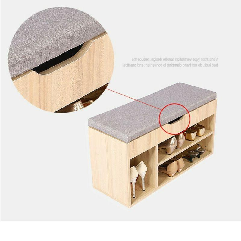 2 Tier Wood Storage Bench Soft Stool Entryway