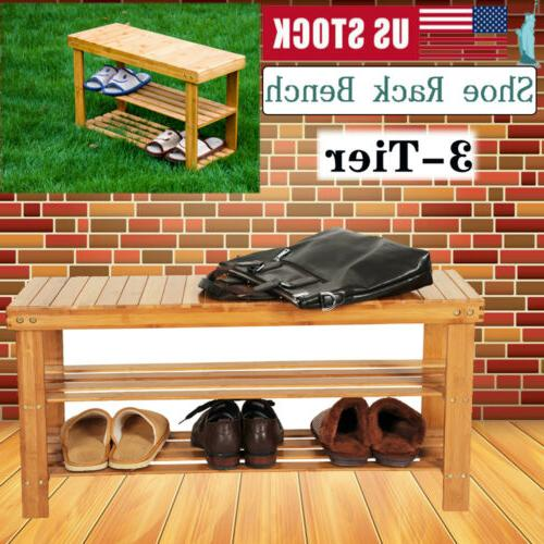 3 tier bamboo shoe rack with bench