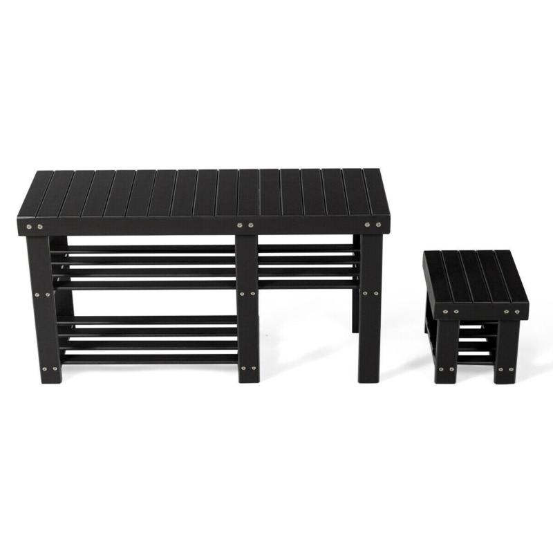 3-Tier Entryway Rack Bench Stool Organizer