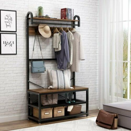 Hall Tree Storage Bench Entry Stand Hat Coat Rack with Shelf