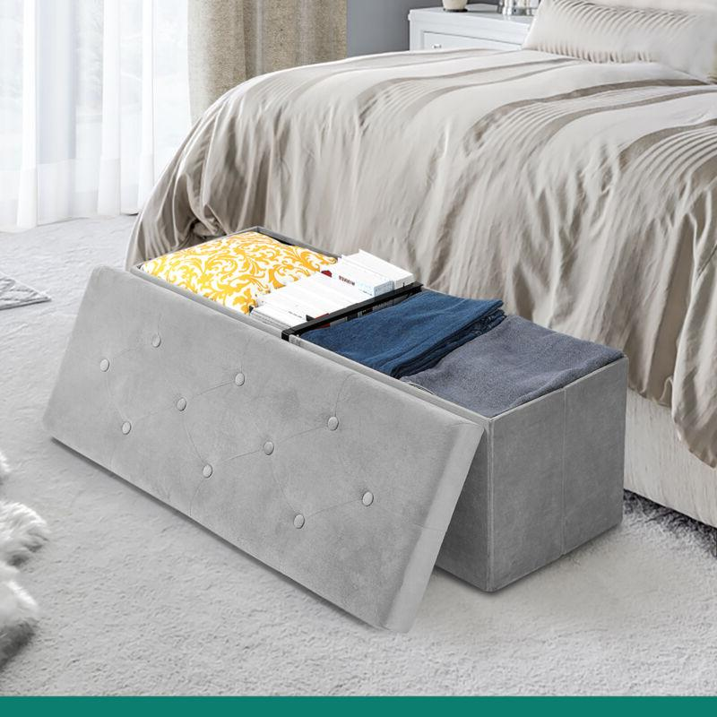 YITAHOME Folding Seat Footstools Storage Bed Bench
