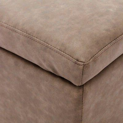 """48"""" Rectangular Bench Leather Footrest Top, Brown"""