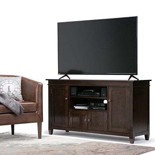 Simpli Carlton Solid Wood TV Media Stand in For TVs inches