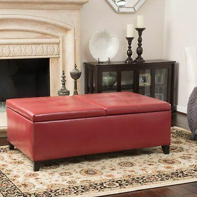 Alfred Leather Storage Ottoman Bench Brown Large