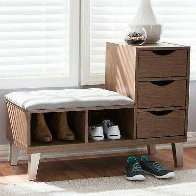 arielle walnut wood 3 drawer shoe storage