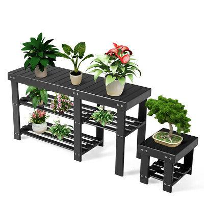 Bamboo Shoe Rack Bench with Storage Organizer for Black