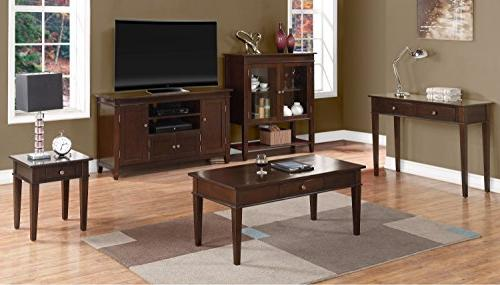 Simpli Solid Wood TV Media Stand Tobacco For 60 inches