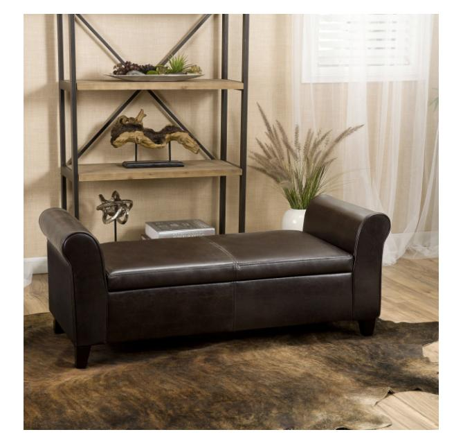 Christopher Knight Armed Storage Bench Brown Furniture