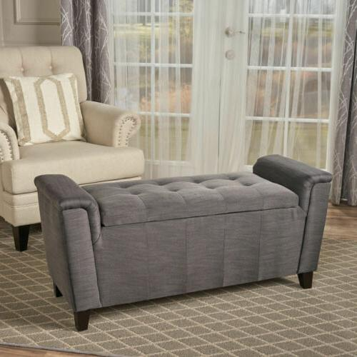 James Beige Tufted Fabric Armed Storage Ottoman Bench